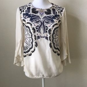H&M Cream Bell Sleeve Tunic Blouse Boho Chic Sz 2